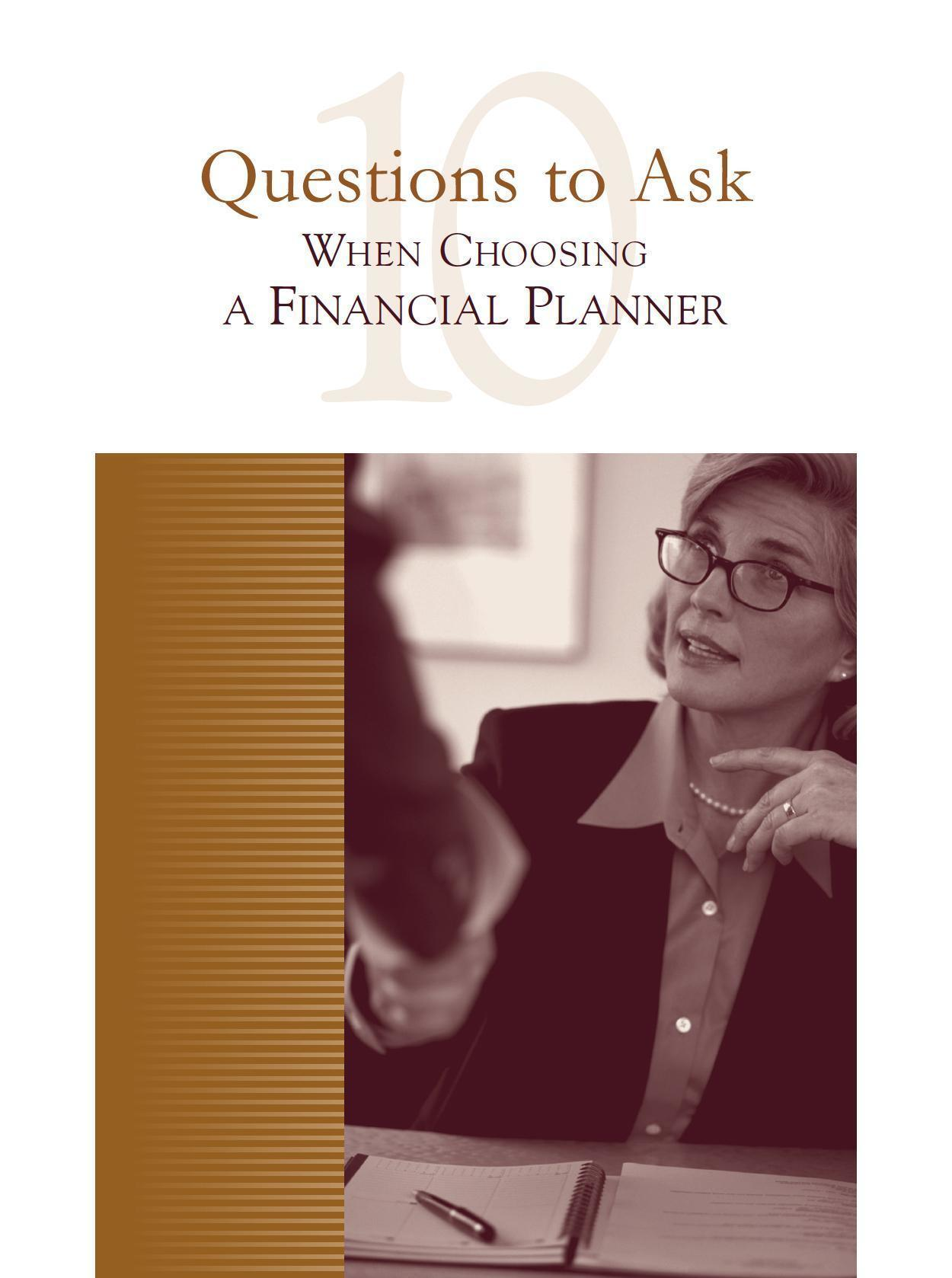 top 10 questions to ask when choosing a financial planner